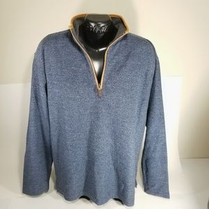 Orvis Mens L 1/4 Zip Blue Leather Trim Sweater